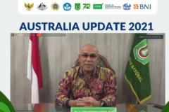 Rektor Unas, Dr. El Amry Bermawi Putera, M.A., sedang memberikan sambutannya dalam pembukaan kegiatan Australia Update 2021 secara virtual.