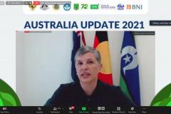 Sambutan oleh Dubes Australia untuk Indonesia, H.E. Penny Williams PSM dalam pembukaan kegiatan Australia Update 2021 secara virtual.