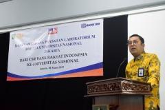 Sambutan - Direktur Jaringan & Layanan PT.Bank Rakyat Indonesia (Persero) Tbk. Osbal Saragi memberikan sambutan dalam acara bantuan sarana dan prasarana laboratorium bahasa Universitas Nasional