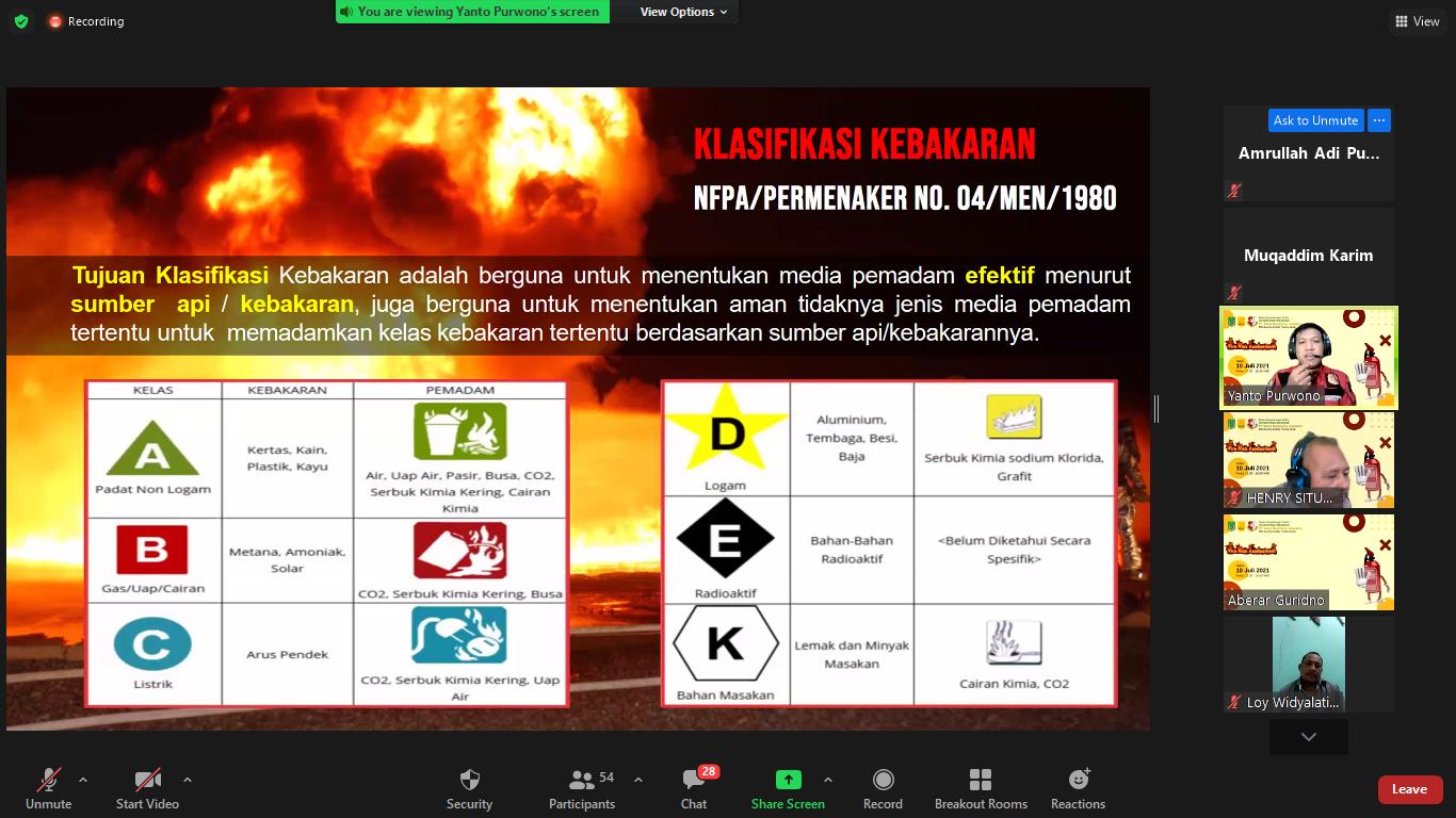 Pelatihan Fire Risk Assessment secara daring melalui apliaksi Zoom Meeting pada 19 Juni 2021