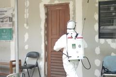 Sterilisasi Kampus dengan Penyemprotan Disinfektan untuk Pencegahan Penyebaran Covid-19. Penyemprotan.  Kegiatan yang digelar beberapa tahap ini dilakukan di area Kampus Unas Pejaten, Lab Bambu Kuning dan Menara Universitas Nasional, Minggu (22/3).