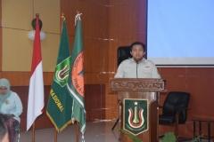 Sambutan Ketua HIMAJEM (Himpunan Mahasiswa Manajemen) UNAS dalam acara Dies Natalis FE