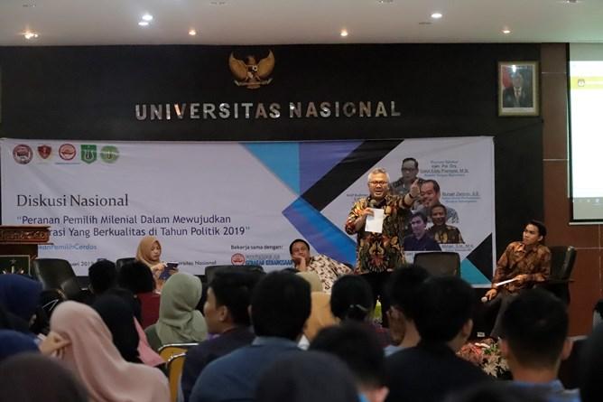 Ketua KPU RI Arief Budiman saat memberikan materi di depan mahasiswa (3)