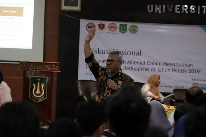 Ketua KPU RI Arief Budiman saat memberikan materi di depan mahasiswa