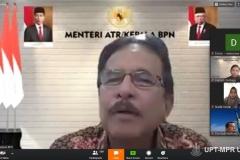 Menteri Agraria dan Tata Ruang (ATR) BTN Sofyan A Djalil selaku pembicara pertama sedang menyampaikan materinya