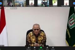 """Rektor Universitas Nasional Dr.Drs. El Amry Bermawi Putera, M.A. dalam kegiatan meeting virtual """"Audiensi dan Silaturahmi"""" di Jakarta, Kamis, (28/5)."""