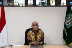 """Rektor Universitas Nasional Dr.Drs. El Amry Bermawi Putera, M.A.  saat memberikan apresiasi kepada mahasiswa dan dosen yang menjadi tim medis sukarelawan di masa covid-19 pada  kegiatan meeting virtual """"Audiensi dan Silaturahmi"""" di Jakarta, Kamis, (28/5)."""