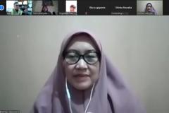 """Dekan Fakultas Ilmu Kesehatan Dr. Retno Widowati, M.Si. pada  kegiatan meeting virtual """"Audiensi dan Silaturahmi"""" di Jakarta, Kamis, (28/5)."""