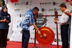 Pemukulan Gong oleh Wakil Rektor Bidang Kemahasiswaan Dr. Drs. Zainul Djumadin, M.Si