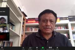 Dekan Fakultas Hukum Universitas Nasional Prof. Dr. Basuki Rekso Wibowo, S.H., M.S. saat memberikan sambutan dalam acara Webinar Perlindungan K3 Bagi Pekerja dimasa Covid-19 pada Sabtu, 1 Mei 2021 melalui aplikasi zoom meeting