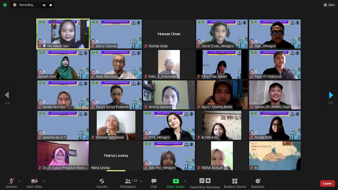 """Himpunan Mahasiswa Agroteknologi Universitas Nasional (Himagro Unas) mengadakan Webinar Advokasi dan Jurnalistik dengan tema """"Peran Advokasi dan Jurnalistik Terhadap Isu Pertanian Masa Kini"""" pada Rabu, 13 Oktober 2021 melalui zoom meeting"""