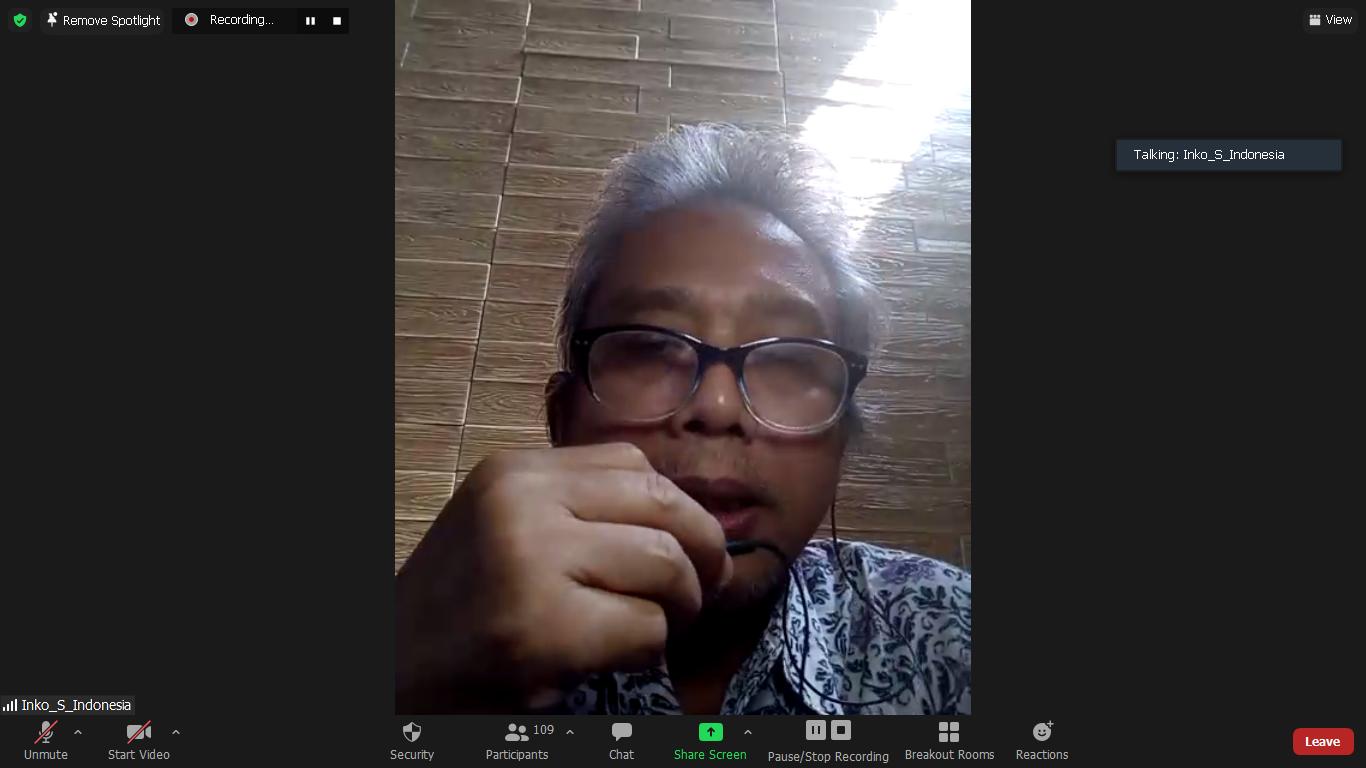 Dekan Fakultas Pertanian UNAS Ir. Inkorena G.S. Sukartono, M.Agr. saat memberikan sambutan sekaligus membuka acara Webinar Advokasi dan Jurnalistik pada Rabu, 13 Oktober 2021 melalui zoom meeting