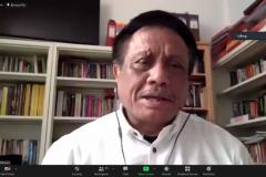 """Dekan Fakultas Hukum UNAS Prof. Dr. Basuki Rekso Wibowo, S.H., M.S. saat memberikan sambutan dalam acara Webinar Nasional """"Strategi Memperoleh Hak Merek Sebagai Aset Bisnis Pasca Undang-Undang Cipta Kerja"""" Sabtu, 03 Juli  2021"""