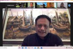 """Dekan Fakultas Hukum UNAS Prof. Dr. Basuki Rekso Wibowo, S.H., M.H. saat mempresentasikan materinya dalam kuliah umum Fakultas Hukum """"Tindak Pidana dan Tanggung Jawab Pidana Korporasi"""" pada Selasa (1/12) melalui zoom cloud meeting"""
