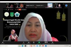 Dekan Fakultas Ilmu Kesehatan Universitas Nasional Dr. Retno Widowati, M.Si. saat memberikan sambutan dalam acara peringatan Maulid Nabi Muhammad SAW 1442 H pada Minggu (15/11) melalui zoom cloud meeting
