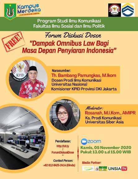Kegiatan Forum Diskusi Dosen Dampak Omnibus Law Bagi Masa Depan Penyiaran Indonesia.