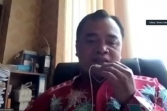 Dosen Prodi Ilmu Komunikasi Fakultas Ilmu Sosial dan Ilmu Politik (FISIP) Universitas Nasional (Unas) Th. Bambang Pamungkas, M.I.Kom sedang memberikan paparan materinya.