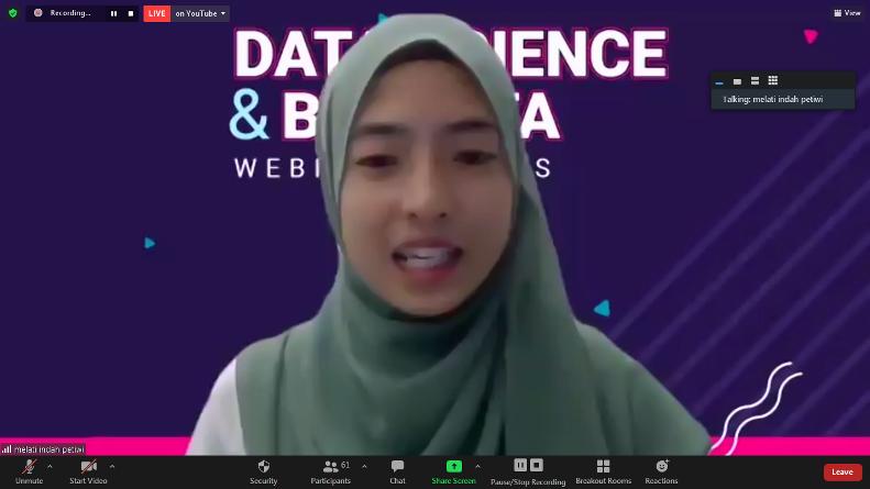 """Master of Ceremony dalam acara Webinar Series """"Data Science & Big Data"""" berlangsung pada Selasa, 3 Juli 2021"""