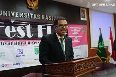 Kata sambutan oleh Ketua Pelaksana Umar Fauzi Bahanan, S.Sos., M.Si. pada acara Fest Fun 2019 (Festival Film Universitas Nasional 2019) di Auditorium blok 1 lantai 4 Unas pada Senin, 28 Oktober 2019