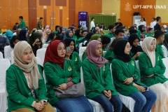 Para peserta yang menghadiri Fest Fun 2019 (Festival Film Universitas Nasional 2019) di Auditorium blok 1 lantai 4 Unas pada Senin, 28 Oktober 2019