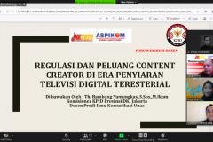 Pemberian materi workshop oleh Komisioner Komisi Penyiaran Indonesia Daerah DKI Jakarta Thomas Bambang Pamungkas, M.I.Kom. dalam Workshop dan Kompetisi Film Dokumenter Jamboer Nasional Komunikasi (JNK) Aspikom 2020 pada Selasa, 15 Desember 2020