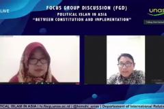 Dosen Prodi Hubungan Internasional FISIP Unas, Dr. Robi Nurhadi  sedang memapaparkan materinya dalam kegiatan.
