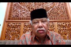 """Cendekiawan Muslim Indonesia Prof. Dr. Azyumardi Azra, M.A., CBE., sebagai narasumber dalam Kajian PPI-Unas dengan tema """"Dialog Kebangsaan, Meneguhkan Kembali Nilai-nilai Luhur Pemimpin Bangsa Indonesia"""" pada hari Jumat, 27 Agustus 2021"""