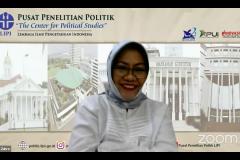 """Peneliti Senior Pusat Penelitian Politik LIPI Prof. Dr. R. Siti Zuhro, M.A., sebagai narasumber dalam Kajian PPI-Unas dengan tema """"Dialog Kebangsaan, Meneguhkan Kembali Nilai-nilai Luhur Pemimpin Bangsa Indonesia"""" pada hari Jumat, 27 Agustus 2021"""