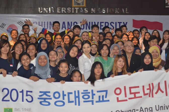 foto Bersama mahasiswa UNAS dengan Chung-Ang University Korea
