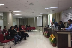 kegiatan seminar Internasional yang sedang berlangsung di Menara UNAS
