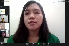 Salah satu penerima beasiswa Yayasan Korindo Mutia Virgita Bopeng saat memberikan kesan dan pesan dalam acara kegiatan penyerahan beasiswa yayasan korindo pada Selasa, 29 September 2020 di Jakarta