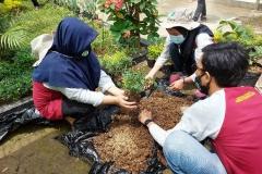 mahasiswa KKL sedang membuat taman dalam kegiatan KKL  di Undrus Binangun, Kadudampit, Kecamatan Sukabumi, Jawa Barat (2)