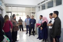 Kunjungan BRI ke UNAS dalam rangka meninjau laboratorium bahasa  sebagai bantuan CSR. pada Rabu (26/6) di laboratorium bahasa blok 2 lantai 3