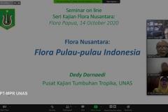 Presentasi materi oleh Guru Besar Universitas Nasional Prof. Dr. Dedy Darnaedi, M.Sc. dalam webinar flora papua yang diselenggarakan Lembaga Penelitian dan Pengabdian Kepada Masyarakat (LPPM) Universitas Nasional pada Rabu, (14/10) di Jakarta.