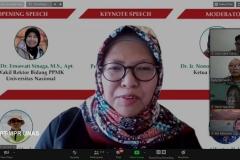 Ketua LPPM UNAS Dr. Ir. Nonon Saribanon, M.Si.  saat memoderatori webinar flora papua pada Rabu, (14/10) di Jakarta.