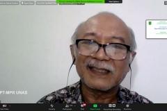 Guru Besar Universitas Nasional Prof. Dr. Dedy Darnaedi, M.Sc.  saat mempresentasikan materinya dalam webinar flora papua yang diselenggarakan Lembaga Penelitian dan Pengabdian Kepada Masyarakat (LPPM) Universitas Nasional pada Rabu, (14/10) di Jakarta.