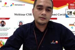 Communication Supervisor PetroChina Ltd Yuda Ramdani saat memaparkan materinya dalam webinar CSR di situasi pandemi covid-19, Jumat (4/9), di Jakarta.
