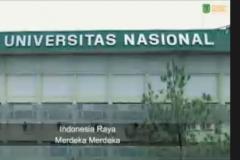 Menyanyikan lagu Indonesia Raya secara daring dalam kegiatan kajian SRoI (Social Return on Investment) : Mengkaji Dampak Program Inovasi Sosial yang diselenggarakan LPPM UNAS pada hari Kamis, 8 April 2021