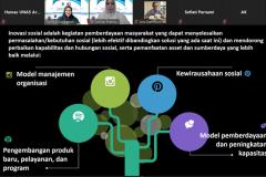 Pemaparan materi secara daring dalam kegiatan kajian SRoI (Social Return on Investment) : Mengkaji Dampak Program Inovasi Sosial yang diselenggarakan LPPM UNAS pada hari Kamis, 8 April 2021