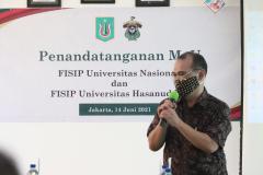 Sambutan dari Wakil Dekan Bidang AkademikFISIP Unas Dr. Ahmad Muksin, M.Si.