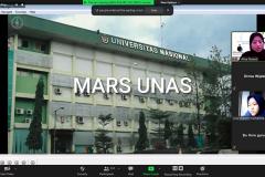 """Saat menyanyikan Mars UNAS dalam webinar """"Tes Penjurusan, Tips dan Trik Seleksi Bersama Masuk Perguruan Tinggi Negeri (SBMPTN) dan Beasiswa"""" yang diselenggarakan oleh Unit Pelaksana Teknis Marketing and Public Relations Universitas Nasional (UPT-MPR UNAS) bekerjasama dengan Primagama melalui video conference pada Rabu, 31 Maret 2021"""
