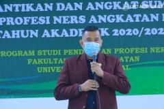 Ketua DPW PPNI DKI Jakarta Ns. jajang Rahmat Solihin, M.Kep, Sp.Kom. saat memberikan kata sambutan serta materi dalam acara pelantikan dan angkat sumpah profesi ners angkatan I tahun akademik 2020/2021, pada Sabtu 09 Januari 2021