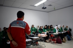 "Suasana saat pelatihan Comprehensive Emergency Midwifery  Training ( CEMT) ""Golden Opportunity For Development of Complementer Midwifery  Evidence Based In Industrial Revolution 4.0""  FIKES Prodi Kebidanan"