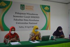 Pembacaan doa dalam pembukaan kegiatan pelepasan wisudawan Fakultas Ilmu Kesehatan Semester Ganjil 2020/2021 di Menara II Unas, Ragunan.