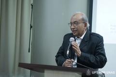 Sambutan oleh Guru Besar Universitas Nasional Prof. Dr. Umar Basalim DES pada acara Peluncuran Buku Sistem Demokrasi Pancasila di Ruang Seminar Menara 1 Unas, Rabu (11/3)