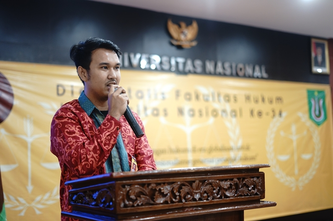 Sambutan Ketua Pelaksana pada acara pembukaan simbolik Dies Natalis Fakultas Hukum ke 34  di Aula Blok 1 lantai 4 UNAS, Selasa (18/6)