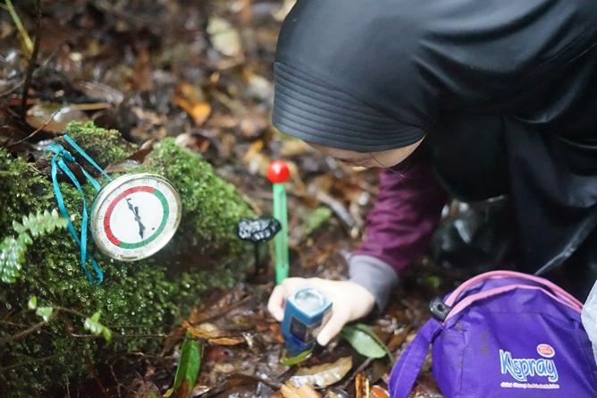 Mahasiswa Fakultas Biologi melakukan pengamatan dan pengukuran pada temuan jamur yang diperoleh