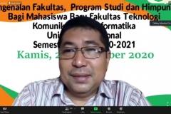Guru Besar FTKI, Prof. Dr. Iskandar Fitri, S.T., M.T.  sedang memberi pembekalan dalam kegiatan