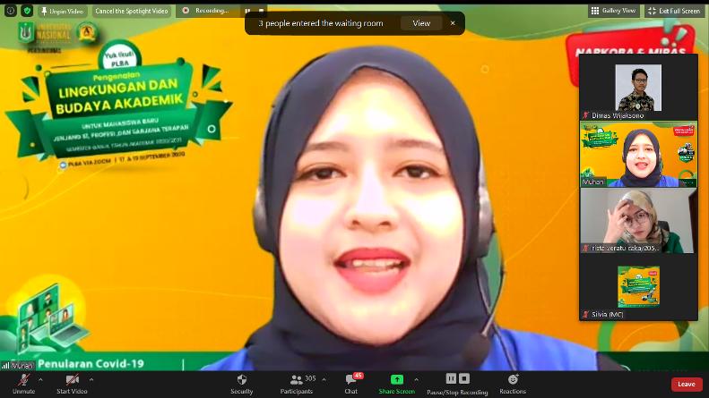 Moderator Muhani dalam Pengenalan Lingkungan dan Budaya Akademik (PLBA) via online