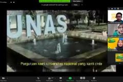 Pemutaran video mars Universitas Nasional dalam pembukaan PLBA